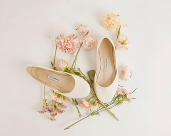 Ivory Bridal Ballet Flats | Ivory White Leather Ballerinas | Wedding Flat Shoes | Classic Ivory ... Made to Order