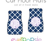 Car Floor Mats Personalized Monogrammed: Quatrefoil