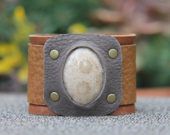 Fossil Coral Leather Cuff