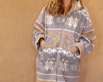 90s SLOUCHY ikat style parka SOUTHWEST oversize large FLEECE sweatshirt polo