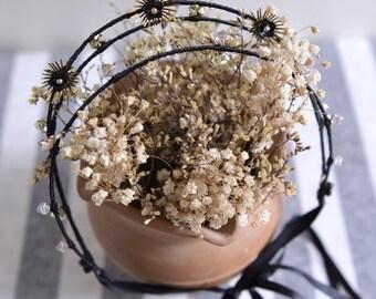 MISS Black - black and gold party crown, swarovski crystal golden bead hair vine