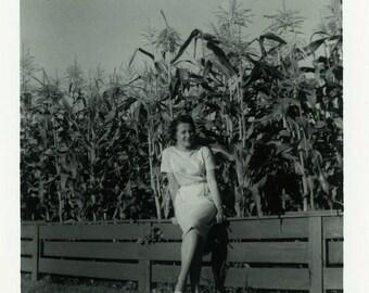 "Vintage Photo ""The Corn Princess"" Farm Girl Field Snapshot Antique Photo Old Black & White Photograph Found Paper Ephemera Vernacular - 134"