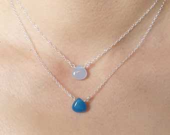 Blue Candy Jade Teardrop Layering Necklace Set Stone Sterling Silver Hand Wrapped Purple Green Light Blue Options
