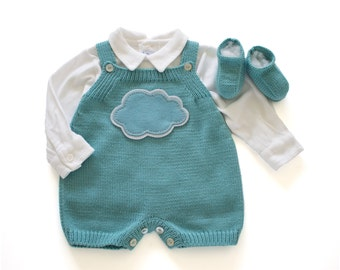 Knitted baby overalls with a felt cloud. Mint. Merino wool. READY to SHIP size NEWBORN.