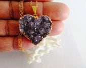 Gold Dipped Druzy Necklace// Heart Shaped Amethyst Drusy Pendant//Boho Fashion