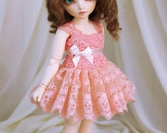 Salmon dress for TINY bjd LittleFee