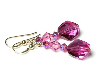 Fuchsia Rose Pink Swarovski Crystal Beaded Earrings, 14K Gold Filled, AB 2X Finish, Cosmic Artisan Bead, Bridesmaid Jewelry, Gifts For Women