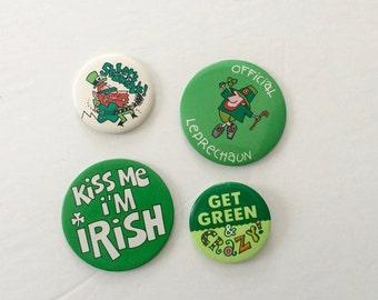 Saint Patricks Day Pins, Lot of Vintage Pins, Saint Patricks Day accessories, Kiss me I'm Irish, leprechaun, lucky shamrock