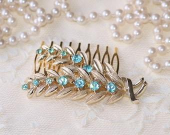Vintage Aqua Blue Rhinestone Gold Leaf Hair Comb,Brooch to OOAK Bridal Hair Comb,Coro Brooch,Heirloom,Aquamarine Rhinestone,Crystal,OOAK