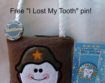 Tooth Fairy Pillow, Military style embroidered comes with Free Lost my Tooth button and optional name button