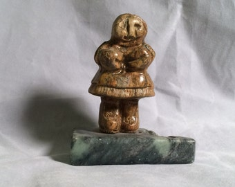 Vintage Carved Soapstone Figure Signed - Native Eskimo, Alaskan, Inuit