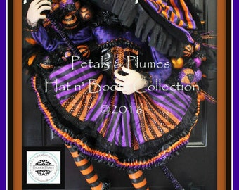 """PRE-ORDER for """"2017""""Delivery-Halloween Wreath- The Original """"Flying Witch Wreath"""" Petals & Plumes ORIGINAL Design-54"""" Tall- Only 2 Available"""
