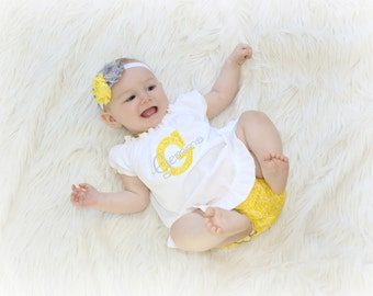 Baby Girl Clothes Newborn Baby Dress Personalized Baby Girl Dress  Newborn Girl Take Home Outfit White Yellow Gray Dress New Baby Gifts