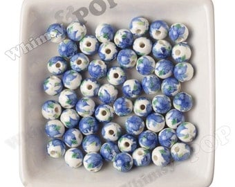10 -  Blue & Green Floral Porcelain Round Beads, Flower Beads, Porcelain Beads, Flower Printed Beads 10mm, 2mm Hole (R9-078)