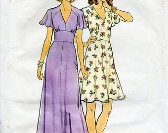 1970s Flared Dress with Flutter Sleeves Pattern Butterick 3731 Boho Vintage Sewing Pattern V Neck Maxi or Above Knee Dress Bust 38 Plus Size