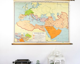 Vintage Pull Down Map, Expansion of Islam