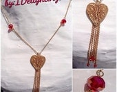 Vintage Gold Heart Necklace with Swarvoski crystal beads and tassels - Sweetheart Gift- Bridal-Prom