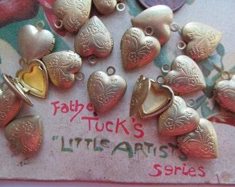 6 Small Brass Locket Charm