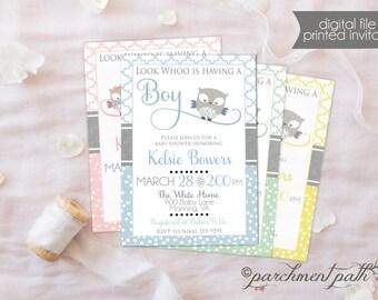 Owl Baby Shower Invitation - Boy, Girl, Gender Reveal, Gender Neutral Options - Printable Invitation