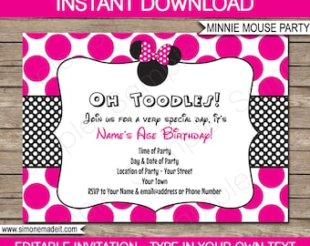 Minnie Mouse Invitation Template - Birthday Party - Pink - INSTANT DOWNLOAD with EDITABLE text - you personalize at home