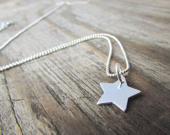 Star Necklace, simple, sterling silver star, polished star pendant, minimalist, layering necklace
