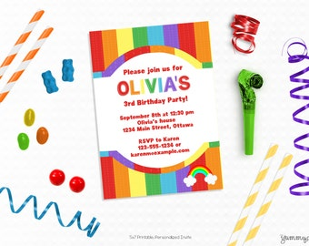 Personalized Printable Rainbow Invitation, Solid Stripes - Invite and Favor Tag or Printable Party for Birthdays or Rainbow Themed Parties