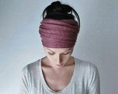VICTORIAN ROSE Head Scarf - Yoga Headband -  Muted Raspberry Hair Wrap - Linen Jersey Headband - Womens Bohemian Hair Accessory - EcoShag