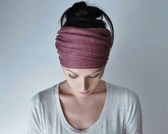 VICTORIAN ROSE Head Scarf - Yoga Headband -  Muted Raspberry Hair Wrap - Linen Jersey Headband - Womens Bohemian Hair Accessory - EcoShag