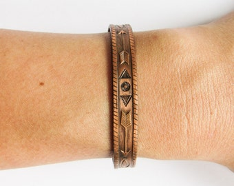 Arrow Copper Cuff Bracelet With Tribal Native Design
