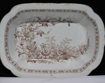 Antique English Earthenware, Brown Transferware Bowl