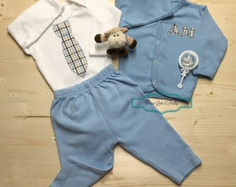 Baby Layette Set, Personalized Baby, Baby Boy Going Home Outfit, Baby Cardigan, Tie Bodysuit, Baby Shower Gift, New Baby Gift