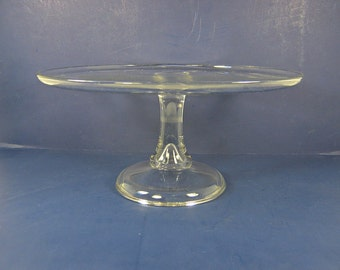 Antique PRESSED GLASS CAKE Stand Pastry Display Salver Tart Pie Cupcake