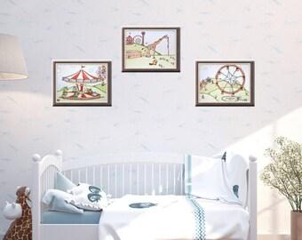 Carnival Nursery Theme Art | Animal Art | Baby Room Decor | Nursery Decor | Carnival Theme | Art for Kids | Nursery Wall Art | Mouse Fair