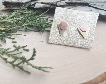 Copper and Brass Geometric Studs | Small Earrings | Modern Jewelry | Minimal Jewelry | Mixed Metals