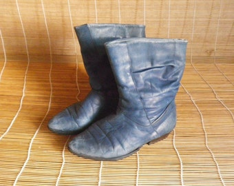 Vintage Lady's Blue Leather Slouch Ankle Boots Size EUR 36 / US Woman 6