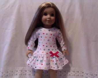 American Girl/18 Inch Doll Drop Waist Ruffle Dress: Tossed Hearts Valentines Dress