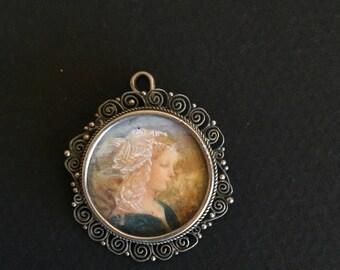 Hand Painted - PORTRAIT PENDANT - Antique - 800 SILVER - Bone