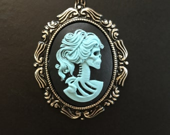 Lolita Skeleton Lady Blue Cameo Gothic Necklace Pin Brooch