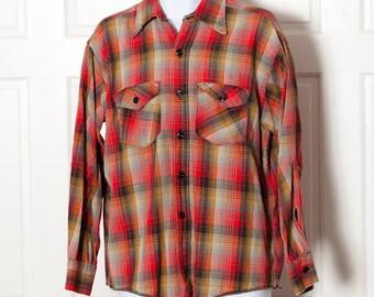 Vintage Men's Button Down Shirt - red black yellow - FROSTPROOF