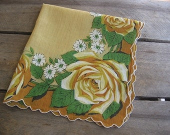 Yellow Rose Ladies Handkerchief, Golden Yellow Hankie, Rose Floral Square Hanky, Gift for Her, Pocket Hankie, Floral Handkerchief