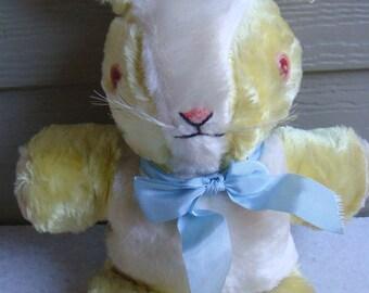 Vintage Bunny Rabbit Plush Stuffed Animal Yellow Zolo Toy Co. New York