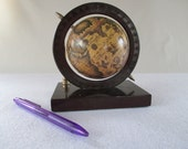 Desk Globe, Vintage Old World Pen Holder, Brown Beige Tan, Library Office Den Man Cave Cottage Decor Display