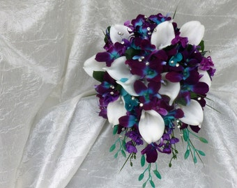 Galaxy orchid bridal bouquet, purple blue island orchid bouquet, white real touch calla lilies, turquoise