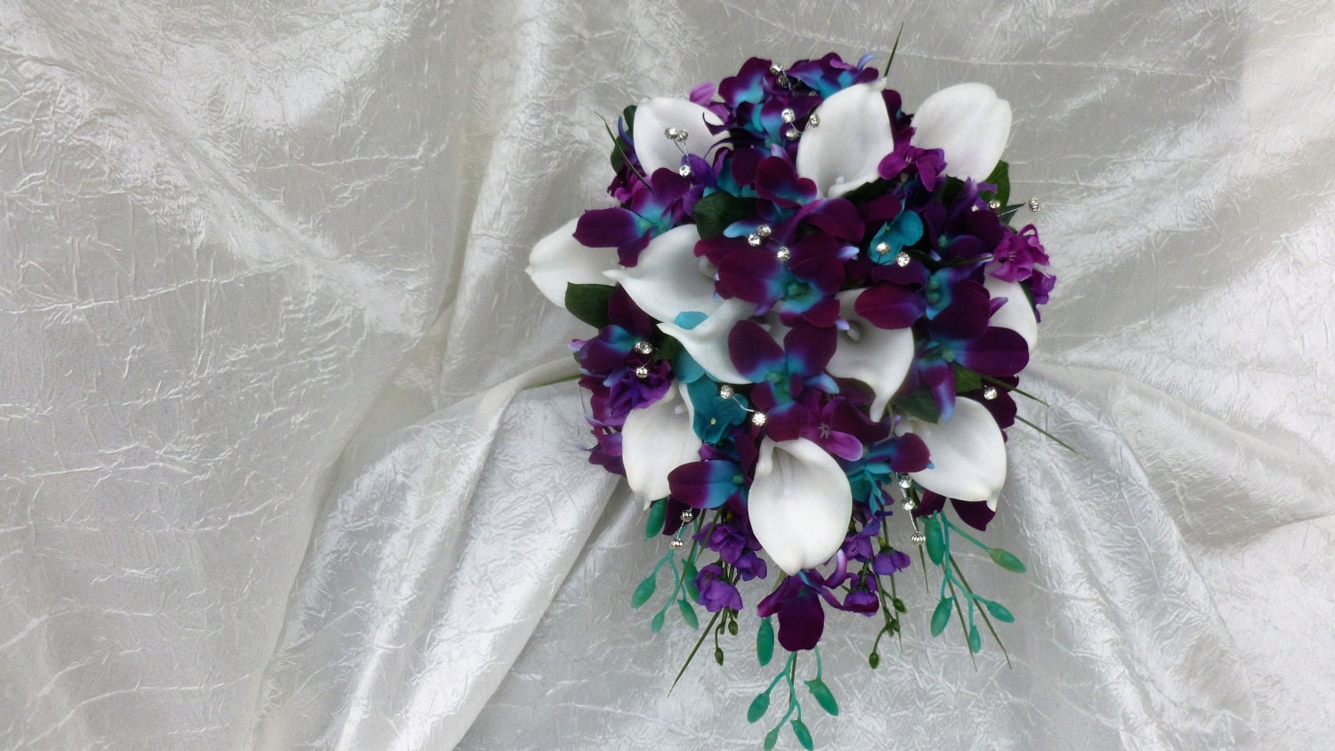 Galaxy Orchid Bridal Bouquet Purple Blue Island Orchid
