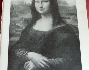 Antique print MONA LISA 1920s b/w decor