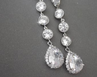 Brides earrings ~ Long ~ Cubic Zirconia Earrings ~ Elegant ~ Sterling silver posts - Bridal Jewelry ~ Sparkling, Wedding earrings ~ Gift