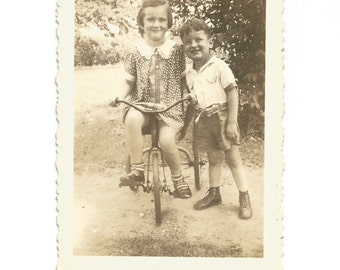 """Vintage Snapshot - """"Susie's New Tricycle"""" - Sister and Brother - Bicycle - Found Vernacular Photo"""