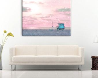 Lifeguard Tower Beach Photography Canvas Wall Art, Beach Art, Santa Monica, Large Canvas Beach Decor, California Art, Pink Blue Nursery Art