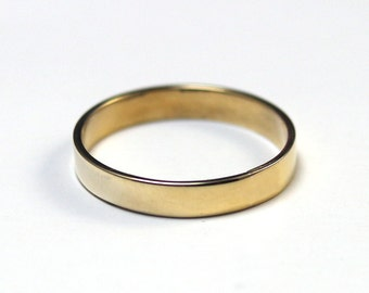4mm Wide Band--Flat Edge Solid Brass Band--Modern Gold Brass Wedding Band