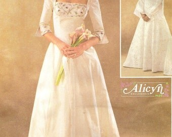 Plus Size Bridal Gown with Train Sz 18 20 22 24 Pattern
